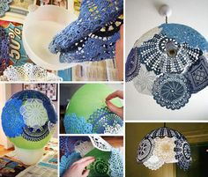 How to make beautiful lighting shade step by step DIY tutorial instructions Doily Lamp, Lace Lamp, Ballon Lampe, Wedding Hall Decorations, Craft Projects, Projects To Try, Project Ideas, Bead Loom Bracelets, Diy Chandelier