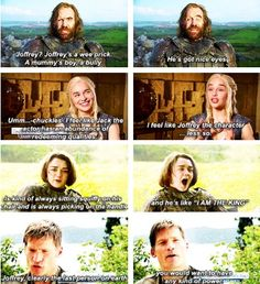 Game of Thrones cast answering the question of whether Joffrey has any redeeming qualities.