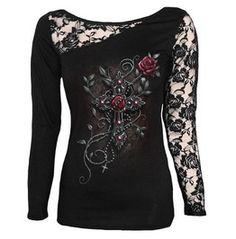 Spiral Ladies Top Angel Beads Lace Shoulder Crucifix Xl Usa Size 10 Uk 14