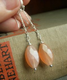 Peach Moonstone Earrings on Sterling Chain  Marquis by beadstylin