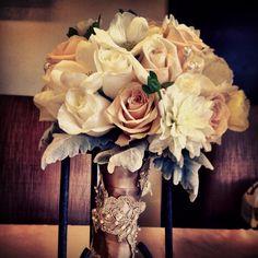 Bouquet #lace #vintage #beautiful #roses #pearls #brides #weddings #dahlias