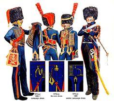 "FRANCIA - ""Horse Artillery of the Guard"" • Officer 1809 service dress • Officer summer service dress • Officer parade dress • Sergeant campaign dress Emir Bukhari"
