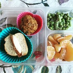 School lunch: prosciutto and mozzarella mini sandwich (leftover from weekend parties), homemade banana muffin, frozen peas (their favorite) and clementine slices. #schoollunch #lunchbox #bento #homemade #healthytips #healthykids #superstartshere