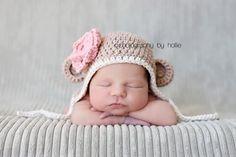 Monkey Hat, Crochet Monkey Hat, Baby Girl Hat, Ear Flap Hat, Infant Crochet Hat, Cotton, Newborn, Jute, Rose Pink, Off White