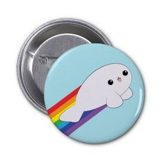 Cute Kawaii Rainbow Rocket Baby Seal Button