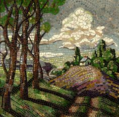 mosaic landscape by Sandra Bryant     Formal Living Room Project: need more intense  abstract.