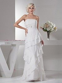 Asymmetrically Ruffle Tiered Strapless Chiffon Wedding Dress
