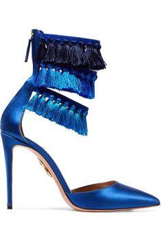 Aquazzura - Claudia Schiffer Loulou's Tasseled Satin Pumps - Blue