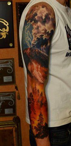 80 Cloud Tattoos For Men – Divine Dwelling Designs - Tattoo Designs Men Forest Tattoos, Nature Tattoos, Body Art Tattoos, Cool Tattoos, Tatoos, Tattoos Pics, Tattoo Images, Hand Tattoos, Storm Tattoo