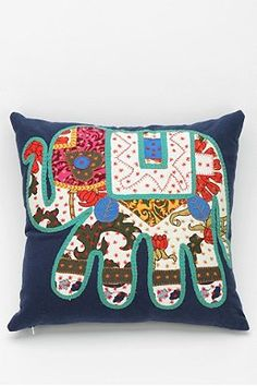 Magical Thinking Elephant Patchwork Pillow