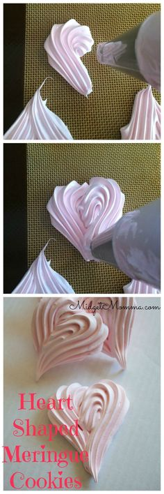 These Meringue Cookies are great for Valentines Day since they are shaped like hearts! These Meringue Cookies are great for Valentines Day since they are shaped like hearts! Valentines Day Food, Valentine Cookies, Valentines Baking, Valentines Recipes, Valentine Desserts, Valentine Chocolate, Fancy Desserts, Meringue Cookies, Cake Cookies