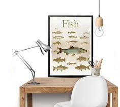 Fish Print, Fish Art, Fish Poster, Retro Art Print, Retro Artwork, Retro Poster, Graphic Art, Living Room Art, Vintage Art, 8'' x 11.5''