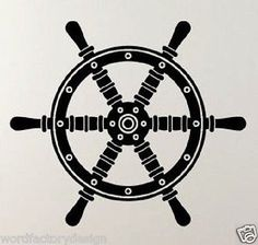 Pirate Ship Helm Steering Wheel Boat Nautical Navigate Vinyl Wall Decal Art