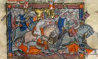 The Rochefoulcauld Grail (1315-1323).  It is one of the principal manuscripts of the greatest romance of the Middle Ages, with 107 miniatures illustrating warfare, chivalry and courtly love. It contains the Lancelot-Grail cycle in French prose, the oldest & most comprehensive version of the legend of King Arthur & the Holy Grail.  This picture is Arthur vs The Saxons.
