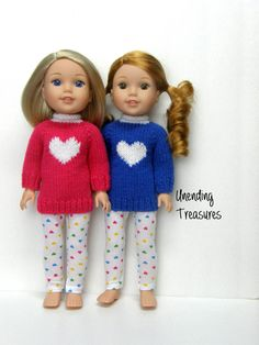 14 inch doll clothes AG doll clothes 14 inch hand knitted tunic sweater and heart leggings made to fit like Wellie Wishers doll clothes by Unendingtreasures on Etsy
