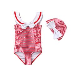 HEETEY Toddler Kids Baby Girl Swimsuit Ruffles Bathing Suit Bikini Striped Swimwear One Piece Swimming Costume Kids for Childs Pool Beach Holiday