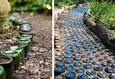 I LOVE all of these ideas.....especially the wine bottles...... Repurposed Garden Paths