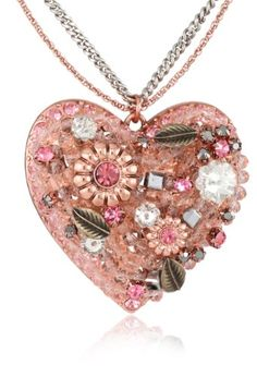 "Betsey Johnson ""Iconic Vintage Rose"" Vintage Heart Pendant Necklace"
