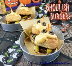 Ghoulish #Burgers with #Easy #cheese #sauce. #Halloween #kids #partyfood #vegetarian #vegan #veganmofo #meatless #zsudever #Zsu'sVeganPantry