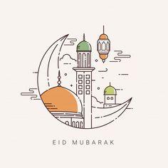 Illustration For The Celebration Of Eid Mubarak With Line Art Design Eid Mubarak Images, Eid Mubarak Card, Eid Mubarak Greeting Cards, Happy Eid Mubarak, Adha Mubarak, Ramadan Mubarak, Ramadan Kareem Pictures, Eid Mubarak Wallpaper, Eid Al Adha Greetings