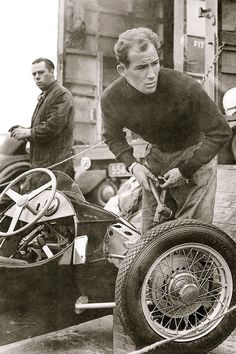 A very, very young Sterling Moss, acting as his own pit crew!