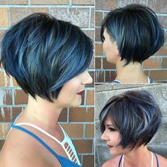 Blue Balayage For Black Choppy Bob