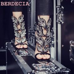 2017 Summer hot selling high heel sandals bling bling crystal embellished cut outs shoes metallic leaf ankle strap sandals-in Women's Sandals from Shoes on Aliexpress.com | Alibaba Group