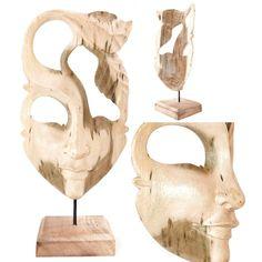 Mascara de madera natural. #Aralart #AralartDecoracion #Mascara #Careta #Madera #Mask #Decoracion #Decor #MaderaNatural #Wood #Tolosa #Tienda #Denda #TiendaOnline