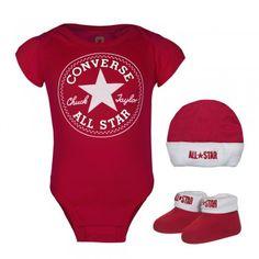 Converse Baby 3-er Geschenk-Set Body Strampler Mütze Söckchen rot weiß #converse #baby #mode #modefreund #fashion #allstar