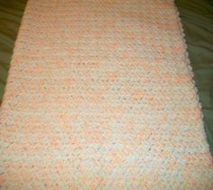 Yellow Orange and White Crochet Baby Blanket by NiftyNeedlework