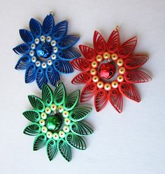 Quilling Christmas Ornament with Jingle Bell, Red Blue Green
