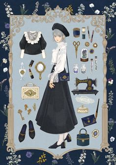 Twitter Illustration Mode, Fashion Illustration Sketches, Dress Design Sketches, Fashion Design Drawings, Cartoon Outfits, Anime Outfits, Vintage Fashion Sketches, Drawing Anime Clothes, Mode Kpop