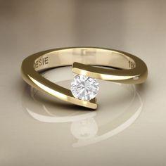 Anel de Noivado Mini Mies II - Anéis de Noivado   Poésie - Joalheria Virtual