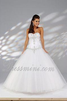 White Ball Gown Sweetheart Long/Floor-length Quinceanera Dress For Sweet 16 QD1D4C at Dressmini.com
