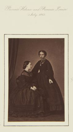 Princess Helena and Princess Louise, July 1862 [in Portraits of Royal Children Vol.6 1862-1863]   Royal Collection Trust