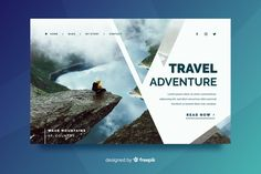 Travel landing page with beautiful lands. Homepage Layout, Web Layout, Design Plat, Web Design, Book Design Inspiration, Brochure Inspiration, Pamphlet Design, Leaflet Design, Memphis