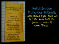 Foldable freebies for the properties of multiplication and one for the properities of addition.