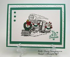 Cute, quick card I CASEd from the internet and now I am a at a loss to find it! My card is done in Emerald Envy and Cherry Cobbler on Whisper White Card Stock. I stamped the train using Tuxedo Bla… Stampin Up Christmas, Christmas Cards To Make, Christmas Greeting Cards, Holiday Cards, Hand Made Greeting Cards, Making Greeting Cards, Christmas Train, Christmas 2017, Father Christmas