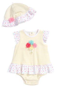 Little Me 'Bouquet' Popover Bodysuit & Hat Set (Baby Girls)