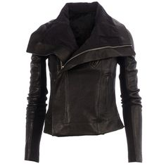 Rick Owens fitted biker jacket (2,712 CAD) ❤ liked on Polyvore featuring outerwear, jackets, brown, flap jacket, long brown jacket, moto jacket, cropped biker jacket and long moto jacket
