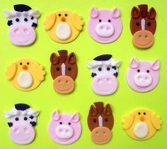 12 boerderij dieren eetbare Cupcake Toppers door SWEETandEDIBLE