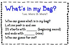 Here is a fun and easy phonemic game that you can play with your kinders at any time of the year! You will need a bag of some sort - it ca. Phonological Awareness Activities, Rhyming Activities, Preschool Songs, Preschool Alphabet, Kids Songs, Preschool Ideas, Circle Time Songs, Circle Time Activities, Rhyming Words