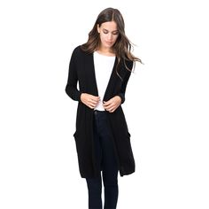 $225- Knitted in Italy with impeccably soft, airily light Italian cashmere, this sweater is designed with drop-shoulder seams, slim sleeves, an open silhouette and a knee-grazing length for the ultimate in loungewear-turned-daywear. Two front pockets.