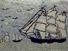 Sailing Ship Hooked Rug   New England, c/1930-1950
