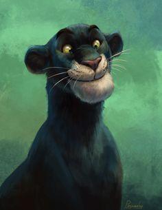 Bagheera by Kate Kazartseva - The Jungle Book Film Disney, Disney Fan Art, Disney Love, Disney Magic, Tarzan, The Jungle Book, Disney Jungle Book, Comic Collage, Studio Disney