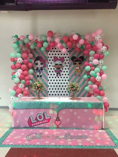 LOL Surprise Dolls Backdrop and balloon arch