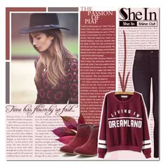 """Wine red set"" by kadric-609 ❤ liked on Polyvore featuring Mother, Sheinside, autumn, polyvorestyle and shein"