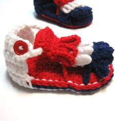 Crochet summer sandals for baby.  Red, white and blue 4th of July sandals.  0 to 6 months, 6 to 12 months.  MADE TO ORDER. on Etsy, $19.00