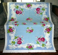 Blue & White Tablecloth Pink & Red Roses Carnations Vintage Cotton 52 X 68 Large
