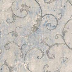 PatIna Scroll, Pale Silver, White, Blue Patton NTX25739